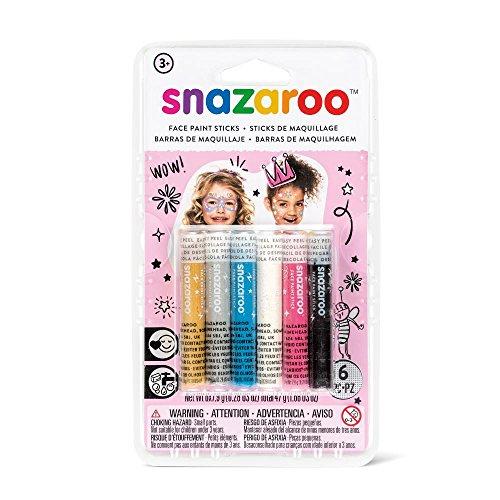 Snazaroo - Set de 6 barras de pintura facial, fantasía