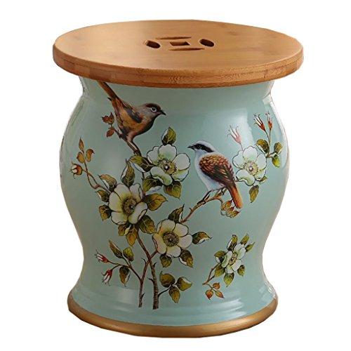 WY Amerikanischen Stil Dressing Hocker Bambus Holz Keramik Trommel Hocker Schuhe Hocker Blume Vogel Porzellan Hocker Lagerung (27 * 31 cm) Möbel (Farbe : F)