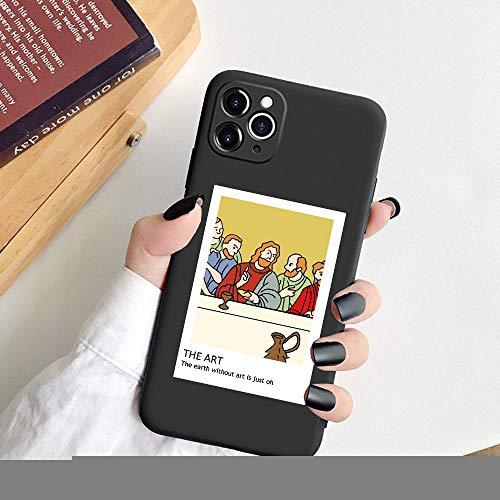 HUAI Fashion Art - Carcasa para iPhone 11 Pro Max XR X Xs 8 7 Plus 6S 5S SE (silicona blanda), color negro