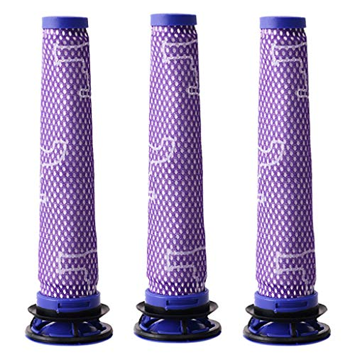 3 Stück Filterpatronen Filter für Dyson V8 V7 V6, DC58, DC59, Staubsauger Waschbar & Wiederverwendbar Vorfilter Ersatzteil für Dyson