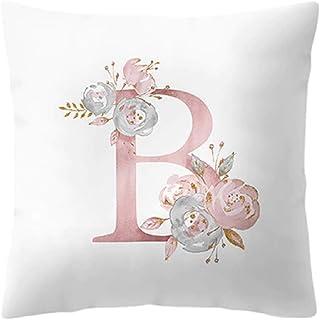 Inception Pro Infinite Funda de cojín - 45 x 45 cm - Letra B - Nombre - Inicial - Alfabeto - Sofá - Casa - Dormitorio - Rosa - Flores - Color blanco