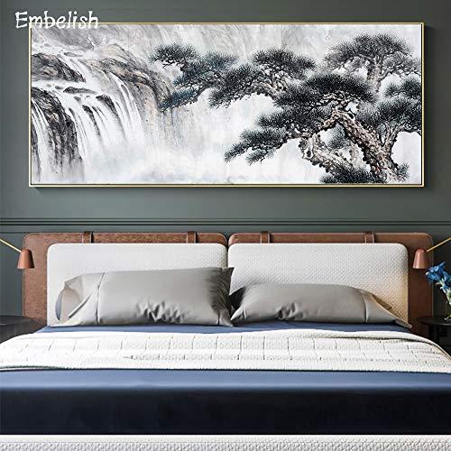 Póster de Pared de Sala de Estar con Paisaje de árbol de Viento Chino, Imagen Moderna para decoración del hogar, Lienzo Impreso en HD, Pintura al óleo-Sin marco40X100cm
