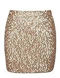 PrettyGuide Women's Sequin Skirt Stretchy Bodycon Shiny Mini Skirt Club Skirt L Matte Gold