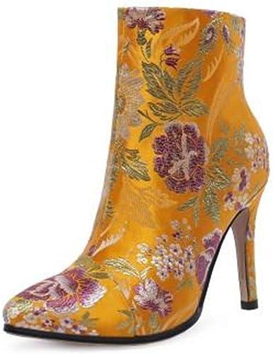 PLNXDM Bottes Chelsea Style Ethnique Bottillons à Broder Talons Hauts Bottes Courtes Chaussures Femme Bottes à La Mode Fleur