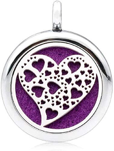 Collar Aromaterapia Difusor de Aceite Esencial Colgante Collar Pluma 25mm Medallón de Aromaterapia Perfume Difusor Esencial Medallón Colgante como regalo (Cadena gratis y 5 piezas de almohadillas) -Xe
