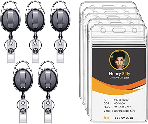 """Ktrio 5 Pack ID Badge Holders & Retractable Carabiner Reel Clip, Vertical Name Badge Holder with 28"""" Kevlar Pull Cord, Heavy Duty Clear PVC Plastic Tag Sleeves for Office, Nurse, Key, Lanyard, Black"""