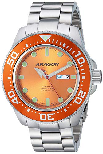 Aragon Men's Automatic-self-Wind Watch with Stainless-Steel Strap, Silver, 24 (Model: A054ORG)