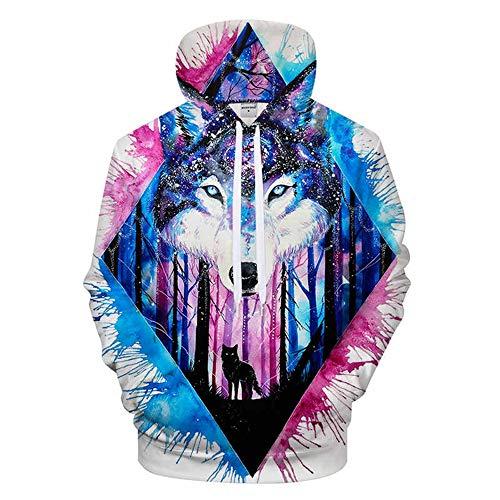 XIELH sweatshirt voor heren, 3D print, wolf sweatshirt met capuchon, moda, heren en dames, sweatshirt met capuchon, mantel met lange mouwen
