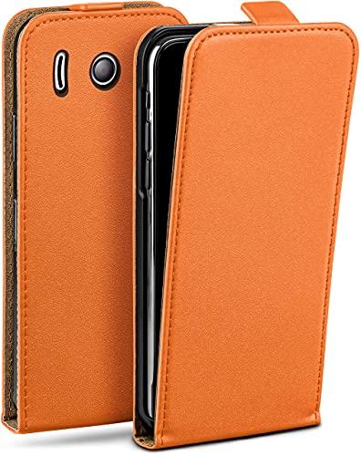 moex Flip Hülle für Huawei Ascend Y300 Hülle klappbar, 360 Grad R&um Komplett-Schutz, Klapphülle aus Vegan Leder, Handytasche mit vertikaler Klappe, magnetisch - Orange