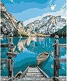 Pintar por números para Adultos Paisajes – Bote y Montaña – Pintura para Pintar por...