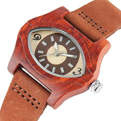 FFHJHJ Reloj de Madera Pulseras turcas de Ojo Malvado, Relojes de Madera para Mujer, Reloj de Cuarzo Vintage étnico de Cuero para Mujer, Relojes de Pulsera de bambú para Mujer y Hombre