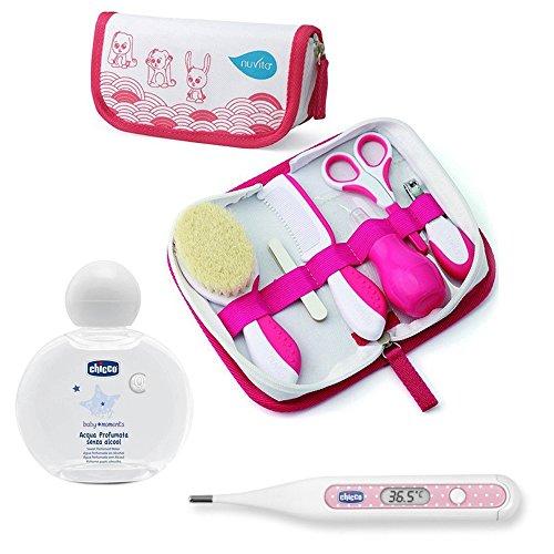 Nuvita Kit de soin pour nouveau-né // Girl // Brosse en laine véritable // Avec sac & thermomètre numérique Peadric & eau parfumée Chicco Baby's Smell