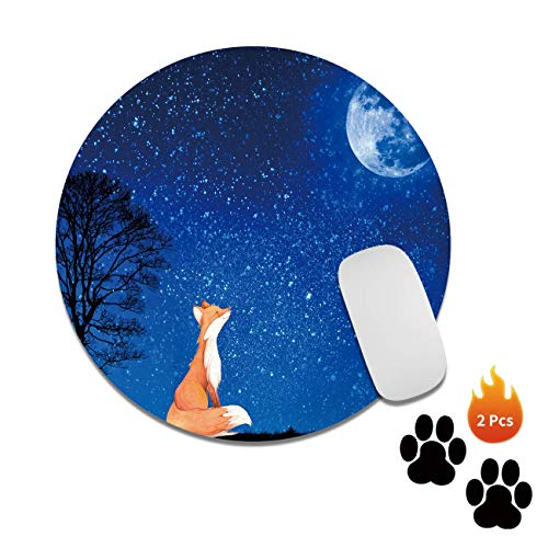 Gaming Mouse Pad Mat Fox Mousepads with Cute Stickers Non-Slip Rubber Base Round Mouse Pads for Laptop Compute Working Home Office Accessories