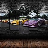 QQQAA 5 Piezas Lienzo Poster 5 Piezas Cuadros Lienzo Grupo De Lamborghini Evolution Cars HD Arte De La Pared Impresa Decoración Dormitorio El Hogar Pintura De La Lona Foto Moderno Decoración XXL