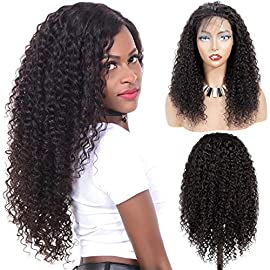 VTAOZI Curly 360 Lace Frontal Wig Human Hair Pre Plucked with Baby Hair For Black Women Full and Thick Brazilian Curly Human Hair Lace Front Wigs Natural Color (16 Inch)