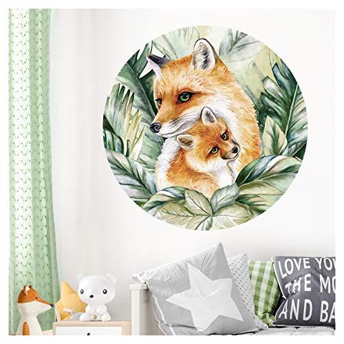 Little Deco DL595 M - Adhesivo decorativo para pared (redondo, 60 cm de diámetro), diseño de animales y zorros