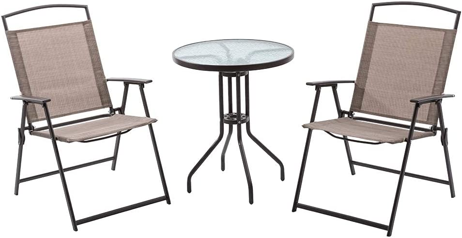 3PCS Patio New popularity Bistro Set with Quantity limited 2 Chairs Table Outdoor Folding Dini