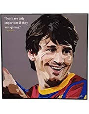 Painted painting inside a wood frame for Lionel Messi