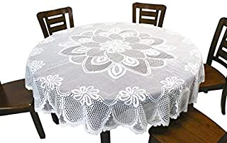 GEFEII White Lace Tablecloth Crochet Table Linen Round Lace Table Covers for Kitchen Dinner Wedding Party Banquet Chrismas...