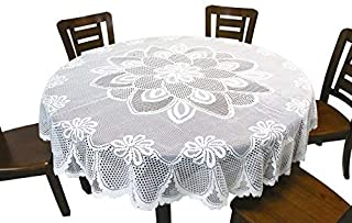 GEFEII White Lace Tablecloth Crochet Table Linen Round Lace Table Covers for Kitchen Dinner Wedding Party Banquet Decoration 70 Inch