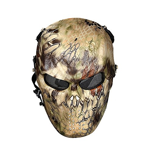 OutdoorMaster Airsoft Mask - Full Face Mask with Mesh Eye Protection (Camo)