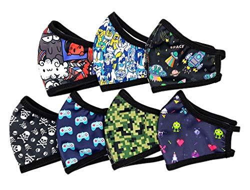 Pack semanal de 7 mascarillas higiénicas de tela reutilizables para niño mayor, talla niño