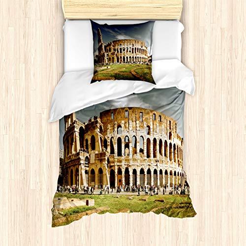 ABAKUHAUS het Colosseum Dekbedovertrekset, Monument Ruins, Decoratieve 2-delige Bedset met 1 siersloop, 135 cm x 200 cm, Pale Coffee Dark Blue