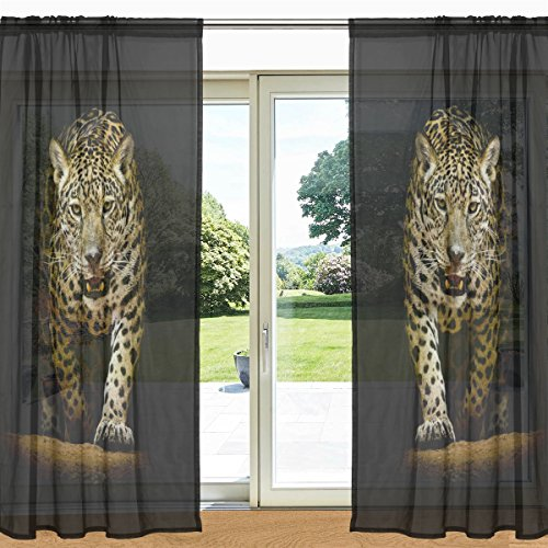 alaza Leopard Pure Printed Window and Door Curtain 2 Panels 55' x 84', Rod Panels Pocket for Living Room Bedroom 55' x 84' ogni pannello multi-coloured