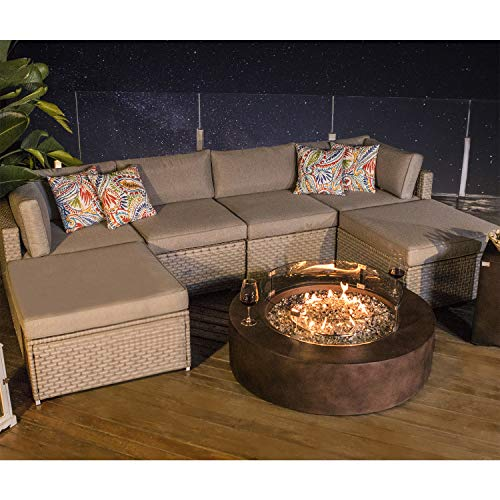 COSIEST 8-Piece Propane Firepit Table Outdoor Furniture Sofa, Warm Gray Wicker Sectional w 42-inch Round Bronze Gas Fire Table (50,000 BTU), Wind Guard and Tank Outside(20lb) for Garden,Pool