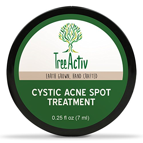 TreeActiv Cystic Acne Spot Treatment, Hormonal Acne Cream, Pimple Cream for Face, Back, and Body, 0.25 fl oz (7 ml)