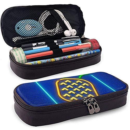 Neon-Symbol von Ananas reif Pu-Leder Federmäppchen Tasche mit Reißverschluss niedlichen Stift Federmäppchen Box Briefpapier Box