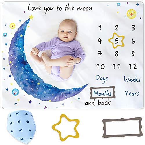 BAMOMBY Baby Monthly Milestone BlanketPhoto Blanket for Boys Girls Baby Newborn Shower GiftsSofty Premium Fleece Blanket with Bandana Drool Bib for Baby Pictures Backdrop Photo PropLarge 50quotx40quot