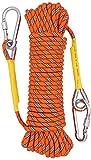 X XBEN 8mm Hochfestes Polyester Sicherheitsseil Outdoor Klettern Rettungsseil 10m 20m 30m 50m 70m mit Stainless Steel thimbles und Karabiner für Anwendungen Notüberleben, Feuerrettung