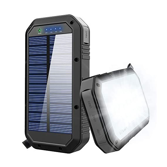 Solar Charger, 25000mAh Battery Solar Power Bank Portable Panel Charger with 36 LEDs and 3 USB Output Ports External Backup Battery for Camping Outdoor for iOS Android (Black) 10 【25000mAh Ultra High Capacity Solar Charger】The solar panel charger built-in 25000mAh Li-polymer battery, it's enough to charge an iPhone XS for 7.4 times, a Galaxy S9 Plus for 5.7 times, an iPad Pro for 1.6 times! 【Two Charging Methods】The Solar charger powerd by 5V/2A adapter(Not included) or solar. The blue indicator light is on when charging with the adapter, and the green indicator light is on when charging with solar panel. 【3-USB Ports for Charger】The solar charging powerbank has three USB ports that can charge three devices at the same time, which is convenient for yourself and your friends.