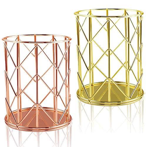 2 Piezas Portalápices Hueco De Hierro De Forma Malla Diseño Moderno Estante De Almacenamiento De Pincel De Maquillaje Para El Hogar La Escuela La Oficina (Oro + Oro Rosa)