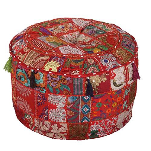 Casa Moro Orientalischer Patchwork Pouf Desna Groß Rot Ø 55cm Höhe 30cm mit Füllung aus Baumwolle   Polsterhocker rund Vintage Sitzkissen im Boho Stil für einfach schöner Wohnen   MA1112