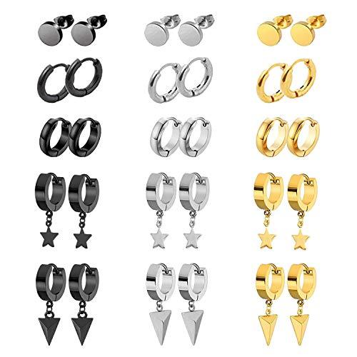 NEWITIN Stainless Steel Earring Stud Hypoallergenic Earrings Hinged Hoop Earrings Dangle Earrings for Men Women,You Can Choose 9 Pairs/15 Pieces/15 Pairs/18 Pairs/30 Pieces Kpop Earrings gold
