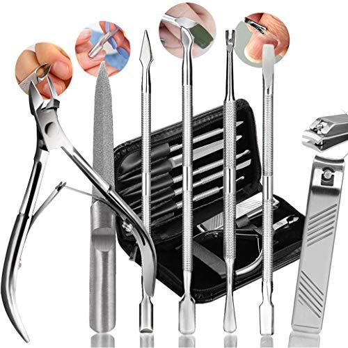Maniküre Pediküre Set, Nagelhautschieber Nagelhautzange Nagelknipser Spatel Nagelfeilen Nagelpflege Kit für Damen - Edelstahl - 7 Stück -Teamkio