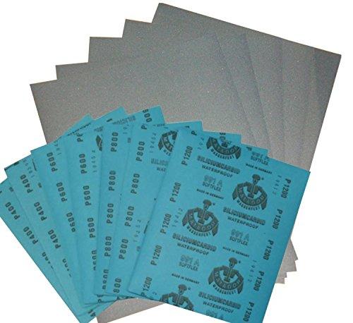 Wasserschleifpapier 18 Blatt je 3 Blatt 800 1000 1200 1500 2000 3000 / Maße 230 mm x 280 mm / Nass-Schleifpapier / bestes Oberflächenfinish / flexibles Trägerpapier / kurze Einweichzeiten / optimale Anpassung an die Objektkonturen / hohe Abtragsleistung durch gleichmäßige Rauhtiefe / Aufpolieren mit Hochglanzpolituren / kleine Ausschleifungen von Staubeinschüssen