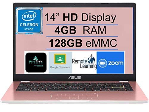 "2021 Newest ASUS E410 14"" Thin and Light Laptop Computer, Intel Celeron N4020 (up to 2.8GHz), 4GB DDR4 RAM, 128GB eMMC, WiFi, Bluetooth, HDMI, Webcam, Remote Work, Pink, Windows 10 S+AllyFlex MP"