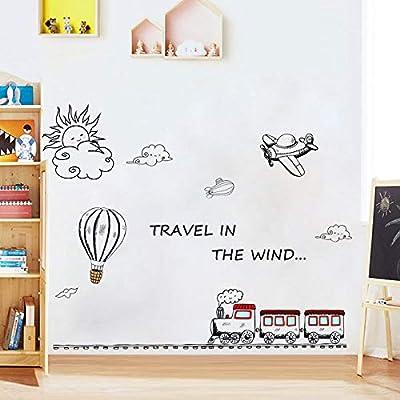 Amazon - Save 50%: Holly LifePro Cute Cartoon Kids Room Wall Decal DIY Travel in The Wind Train…