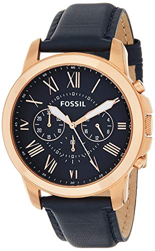 Fossil Grant Chronograph Leather Watch Fs4835ie Rose Gold Navy Leather One Size