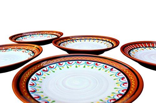 Cactus Canyon Ceramics Spanish Terracotta 5-Piece Small Dinner Plate Set (European Size), White