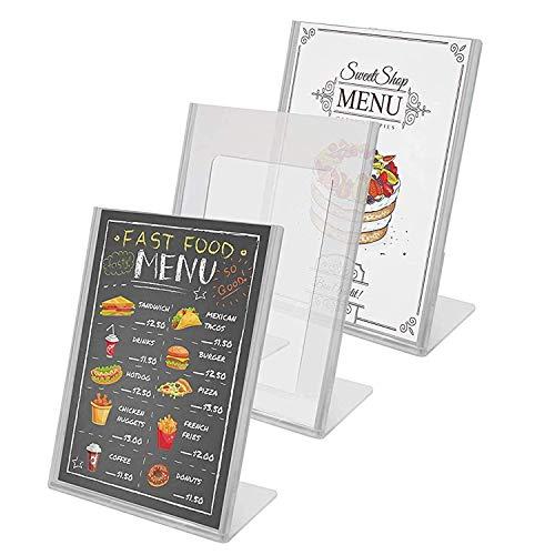 Kurtzy Tischaufsteller (3 Pack)-A4 Durchsichtigem Acryl Kunststoff Tisch Ständer für Restaurant - Menü Broschüre Foto Anzeige Flyerhalter - Poster Rahmen und Werbeaufsteller Set