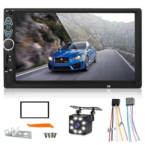 haoxuandianzi Double Din Car Stereo,Upgraded Version 7 Inch Touch Screen Car MP5 Player Support Backup Rear View Camera FM Radio Car Audio with Hands-Free Mirror Link