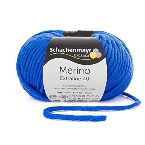 Merino Extrafine 40 Schachenmayr royal (Fb 351) - 50g Knäuel - Merinowolle zum stricken von Mützen, Schals und Loops in blau – Winterwolle Nadelstärke 7-8 mm in vielen tollen Farben – Wolle für Mützen und Schals aus 100% Merino Wolle inkl. GRATIS MyOma Label