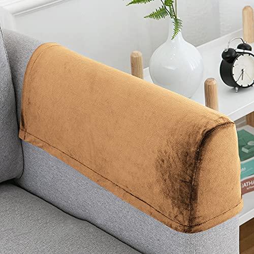Hruile Juego de 2 fundas antideslizantes para reposabrazos de sillón, fundas protectoras de muebles, funda de forro polar, funda elástica para sillones, sofás reclinables, color caqui