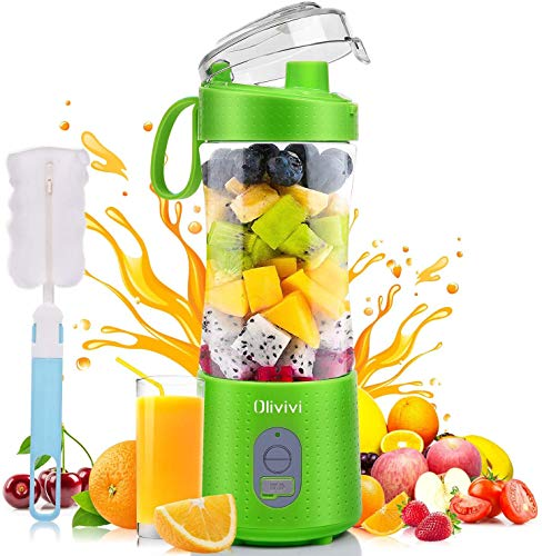 Olivivi Portable Blender, Multifunctional Personal Blender Mini Smoothie Blender 6 Powerful Blades, 4000mAh Rechargeable USB Juicer Cup with Strainer Cleaning Brush for Travel BPA Free Green