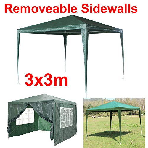 3x3m Waterproof Gazebo Sun Protection for Garden Party Camping Festival Beer Tent Marquee, Rustproof Steel,UV Protection Party Tent,Outdoor Event Dome Shelter with 4 Removable Walls Easy to Install