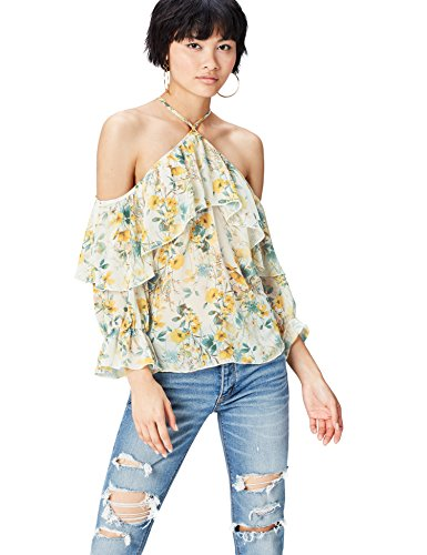 Marca Amazon - find. Blusa Estampada con Hombros al aire para Mujer, Multicolor (Yellow Mix), 36, Label: XS